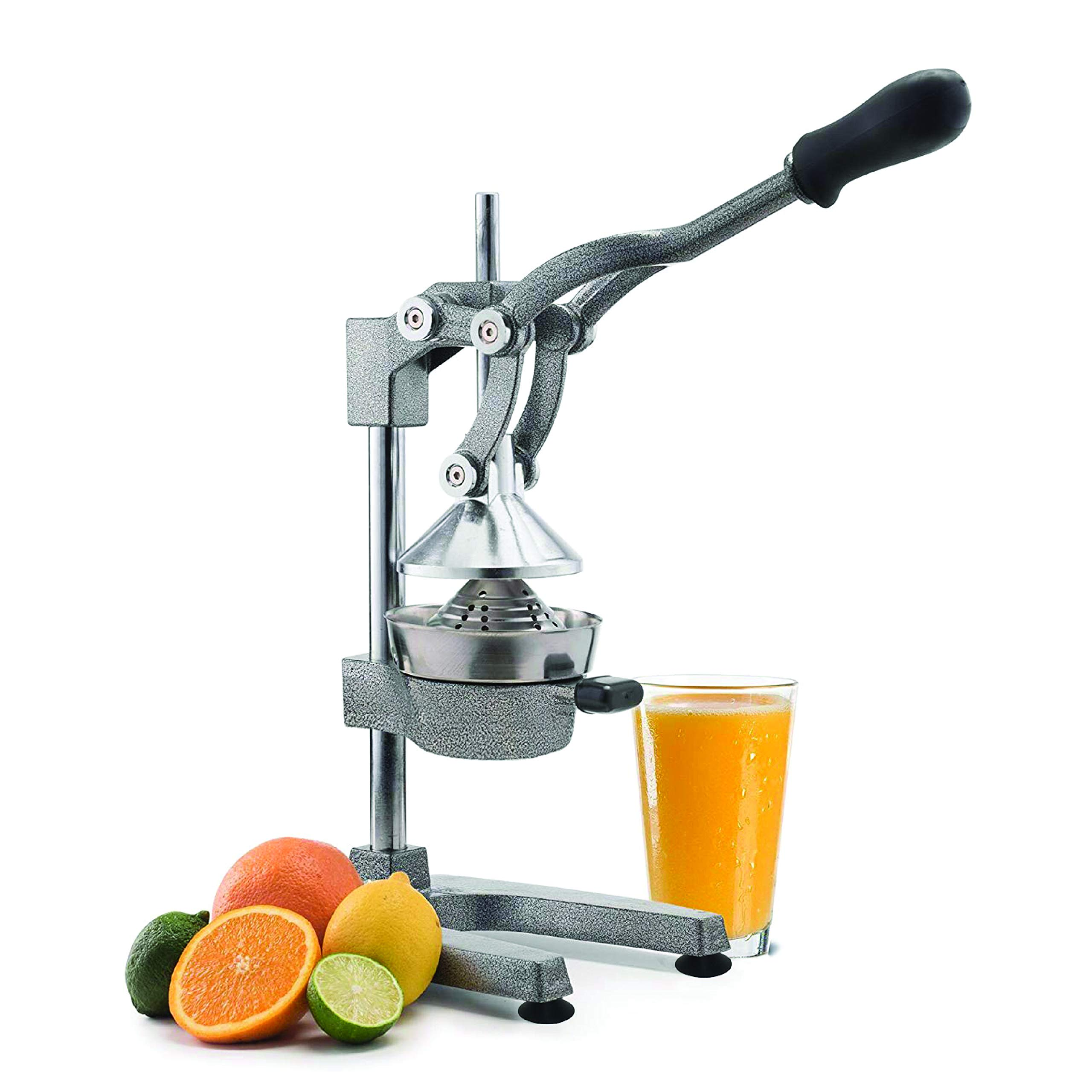 Manual Fruit Juicer - Commercial Grade Home Citrus Lever Squeezer for Oranges, Lemons, Limes, Grapefruits and More - Stainless Steel and Cast Iron - Non-skid Suction Cup Base - 15 Inch - by Vollum by Vollum