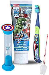 Avengers Captain America 3pc Bright Smile Oral Hygiene Set! Soft Manual Toothbrush, Toothpaste &