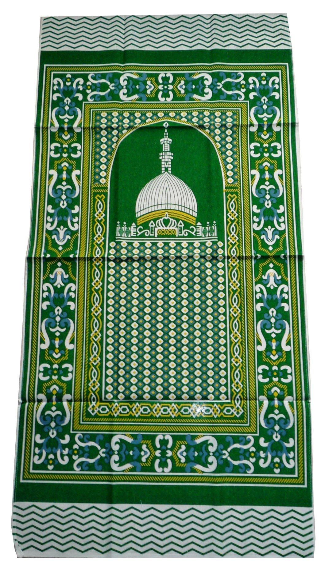 Portable Prayer Mat Thin Cloth Islam Muslim Namaz Sajadah School Camping Backpack Travel Office Sajjadah (Green)