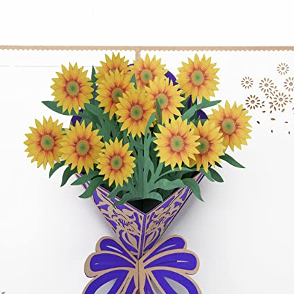Amazon Aiex Birthday Card 3d Pop Up Card Sunflower Bouquet
