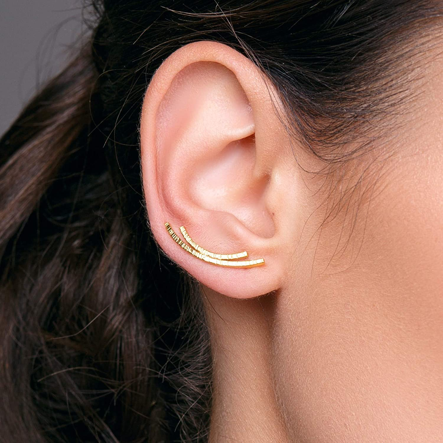 Pair of ear crawlers, curved bar stud earrings,earcuff earrings, hypoallergenic bar earrings, gold ear climber earrings