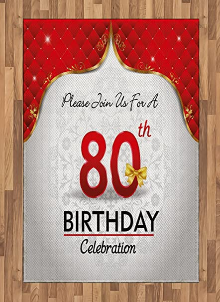 Ambesonne 80th Birthday Area Rug Party Invitation With Abstract Floral Backdrop For Elderly People