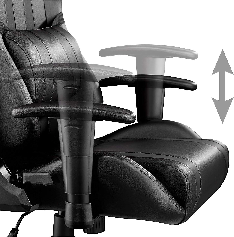 TecTake Fauteuil de bureau chaise de bureau racer racing classe de luxe avec support lombaire–Disponible en plusieurs couleurs - Noir