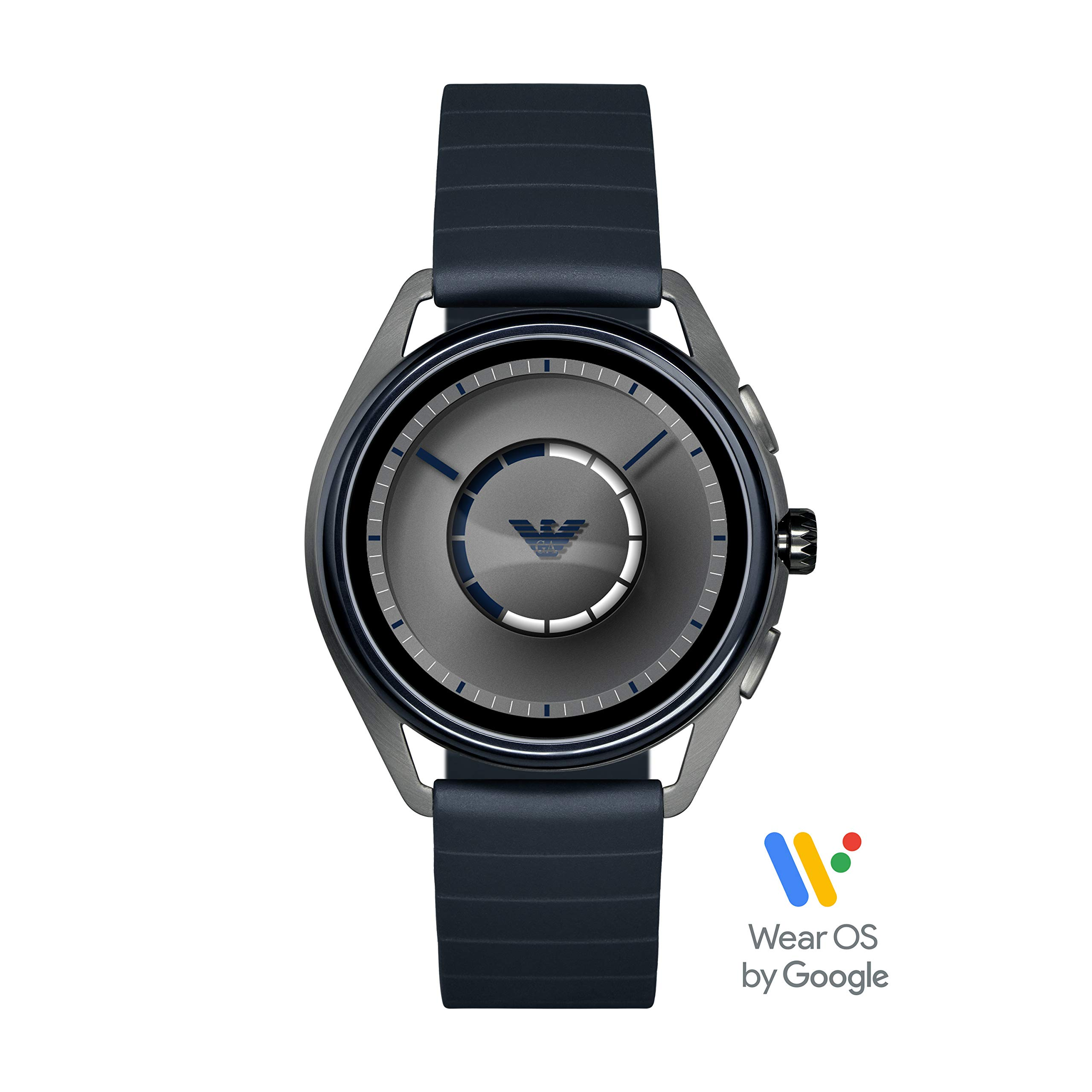 Emporio Armani Men's Stainless Steel Plated Touchscreen Smartwatch, Color: Navy (Model: ART5008)