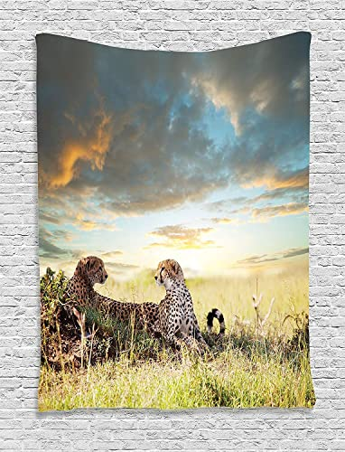 Ambesonne Safari Tapestry, 2 Cheetahs in Africa Nature Grass Dangerous Animals Hunters Rainy Weather Picture, Wall Hanging for Bedroom Living Room Dorm Decor, 60 X 80 , Yellow Green
