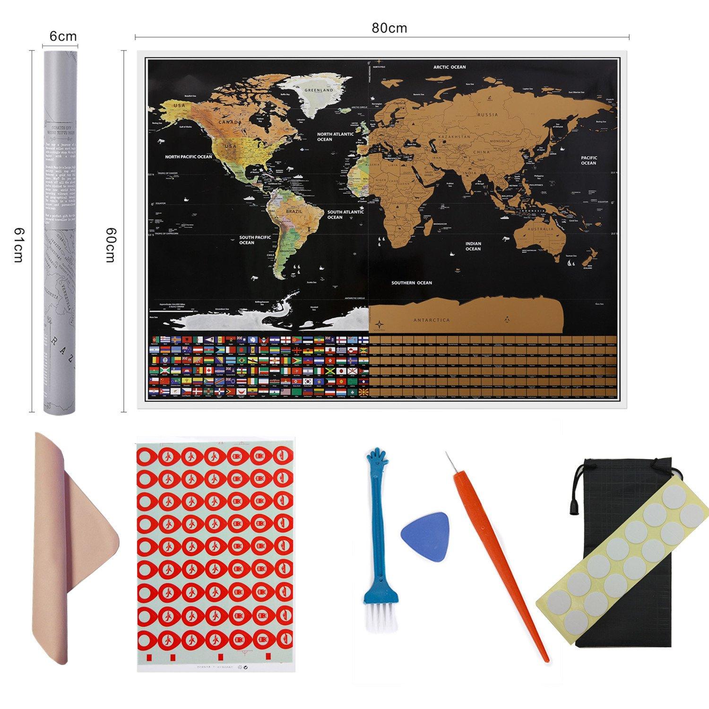 Carte du monde Scratch, cartes à gratter, Essentiels de voyage (31X23 pouces), mettez en valeur votre aventure, laissez une carte mémoire, 80X60cm Travel Series ... Zhuoxun click to buy