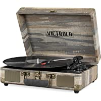 Victrola Vintage 3-Speed Bluetooth Portable Suitcase Record Player with Built-in Speakers | Upgraded Turntable Audio Sound| Includes Extra Stylus | Farmhouse Shiplap Gray