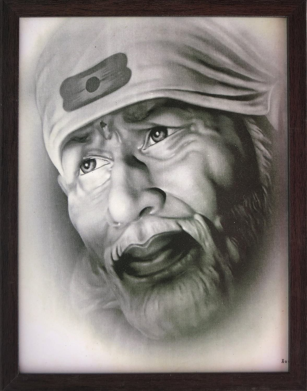 Sai Baba Looking with White Beard in This White Picture, Sai Baba Poster Picture with Frame, Must for Home Decor/ Offices and Gift Purpose.