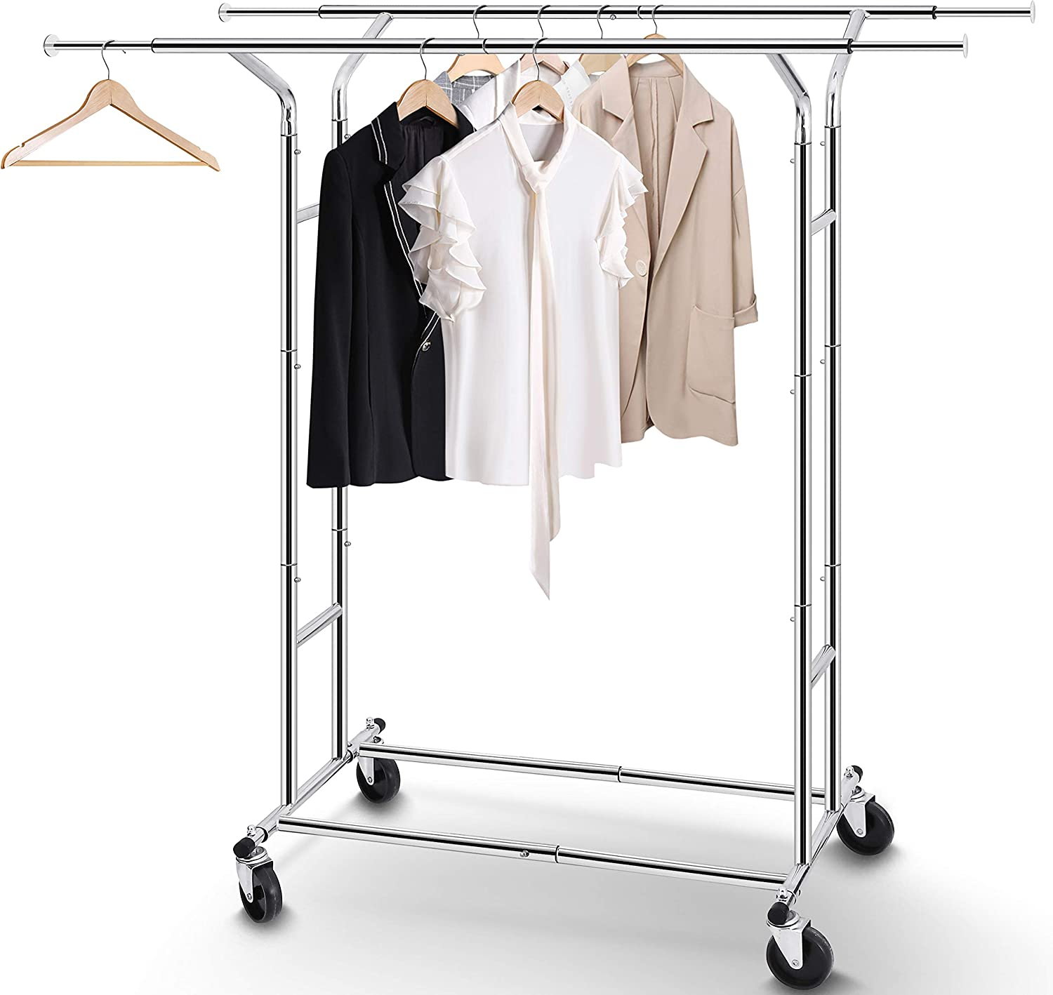 Simple Trending Double Rail Clothes Garment Rack, Heavy Duty Commercial Grade Clothing Rolling Rack on Wheels with Expandable Collapsible Clothing Rack