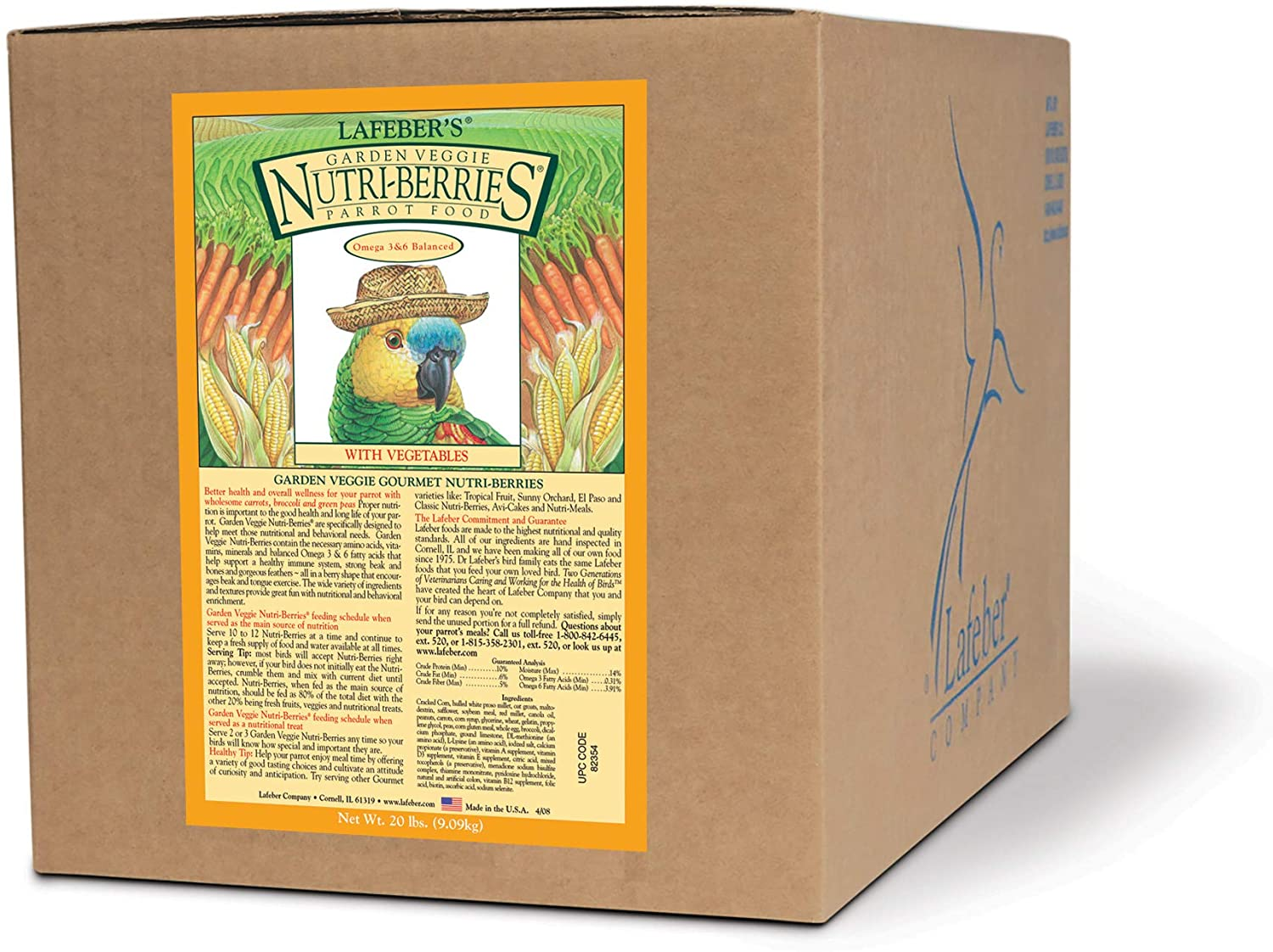 LAFEBER'S Garden Veggie Nutri-Berries Pet Bird Food, Made with Non-GMO and Human-Grade Ingredients, for Parrots