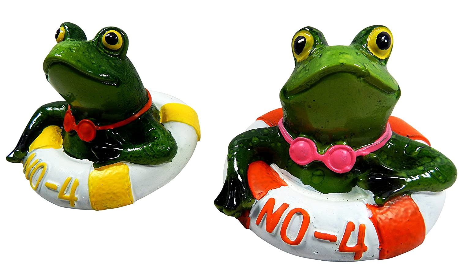 2 pcs. Swimming Toy Frog floating tire Yellow Orange Pool - Decoration Set for one price OotB