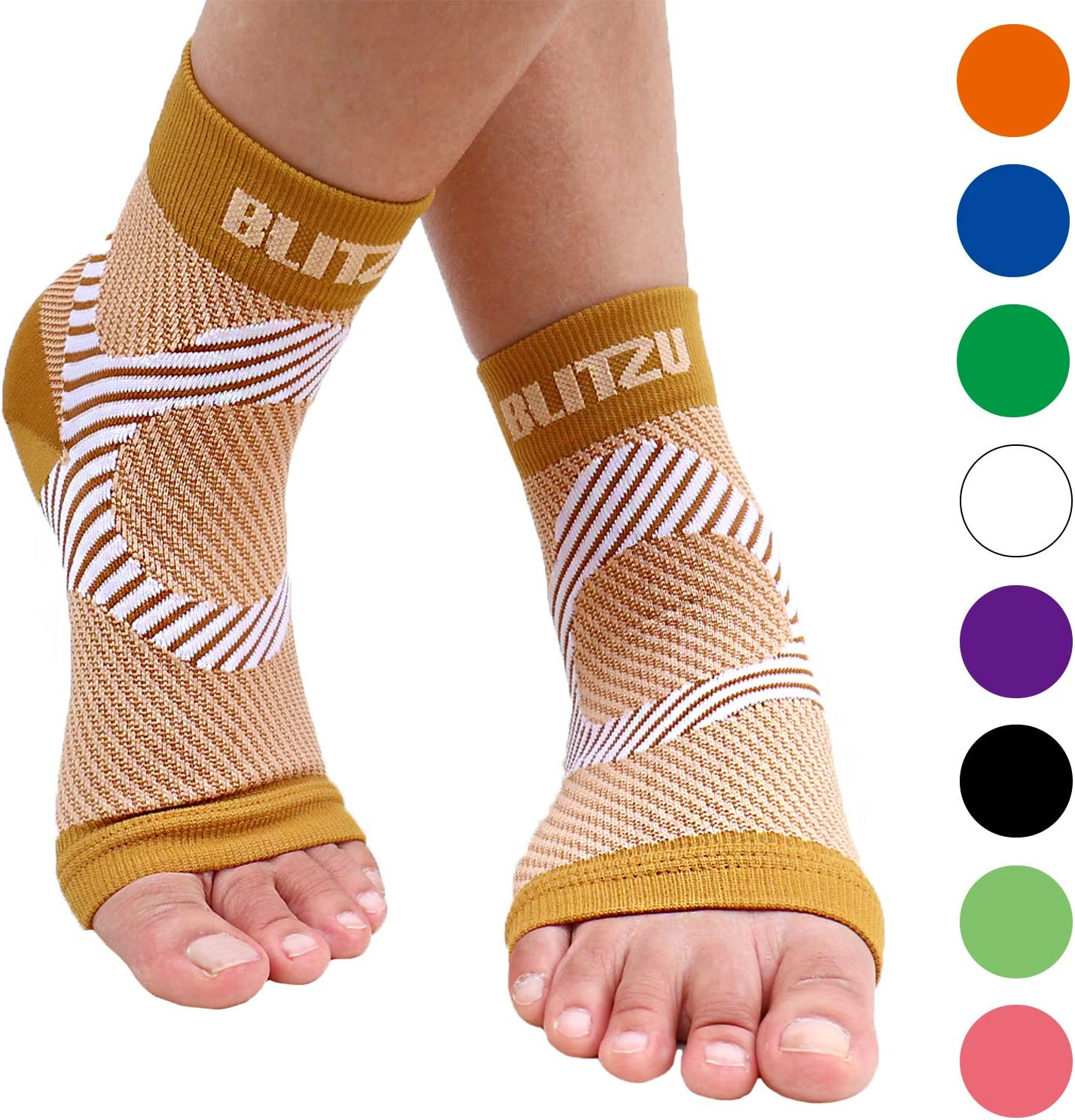 BLITZU Plantar Fasciitis Compression Socks For Women & Men - Best Ankle and Nano Sleeve For Everyday Use - Provides Foot & Arch Support. Heel Pain, and Achilles Tendonitis Relief. NUDE S/M
