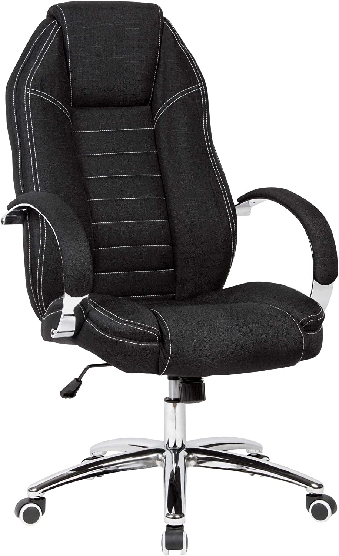 AMSTYLE Silla de escritorio giratoria en aspecto vaquero, funda de tela, color negro, hasta 120 kg, silla de oficina de diseño regulable, con reposabrazos y respaldo alto