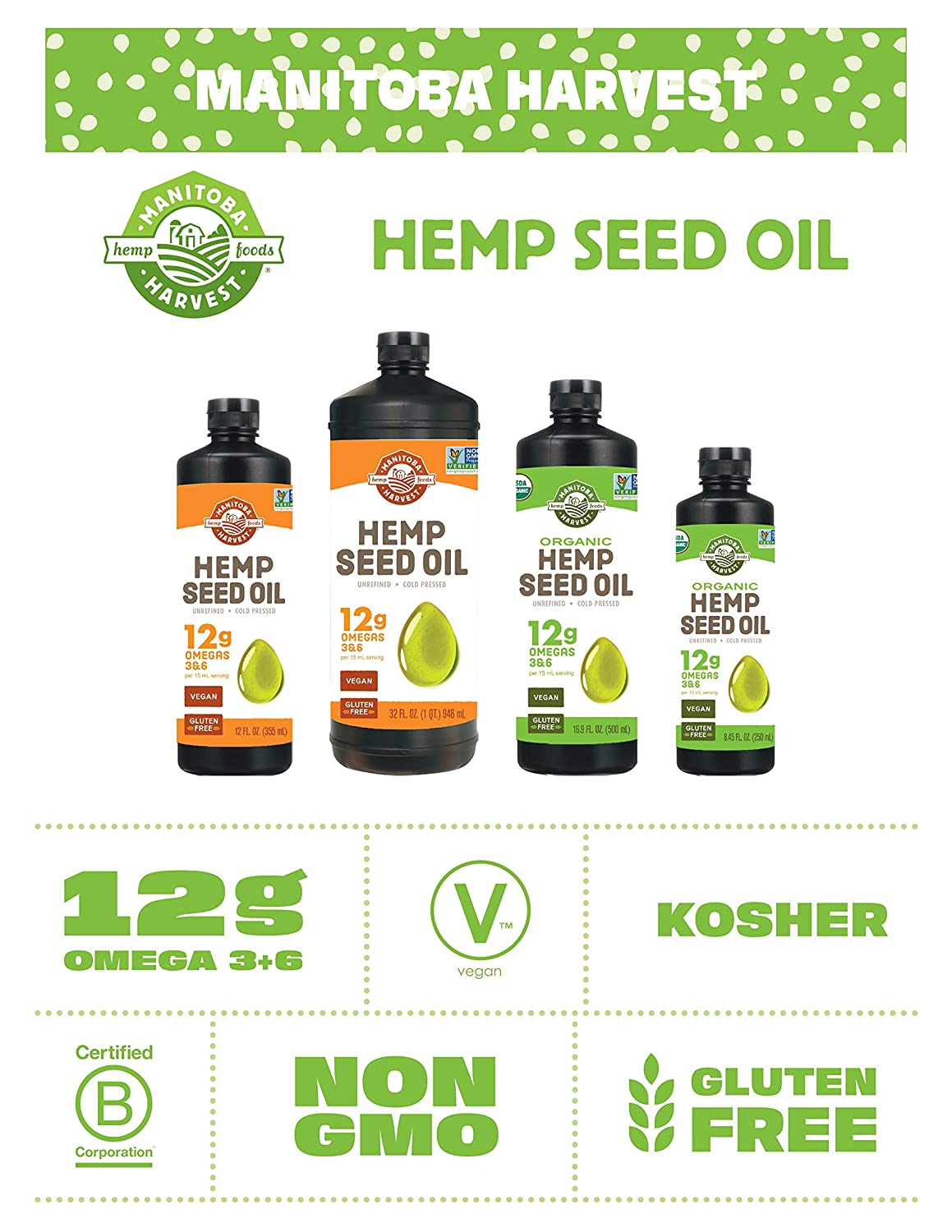 Manitoba Harvest Hemp Seed Oil, Cold Pressed, 10g of Omegas per Serving, Non-GMO