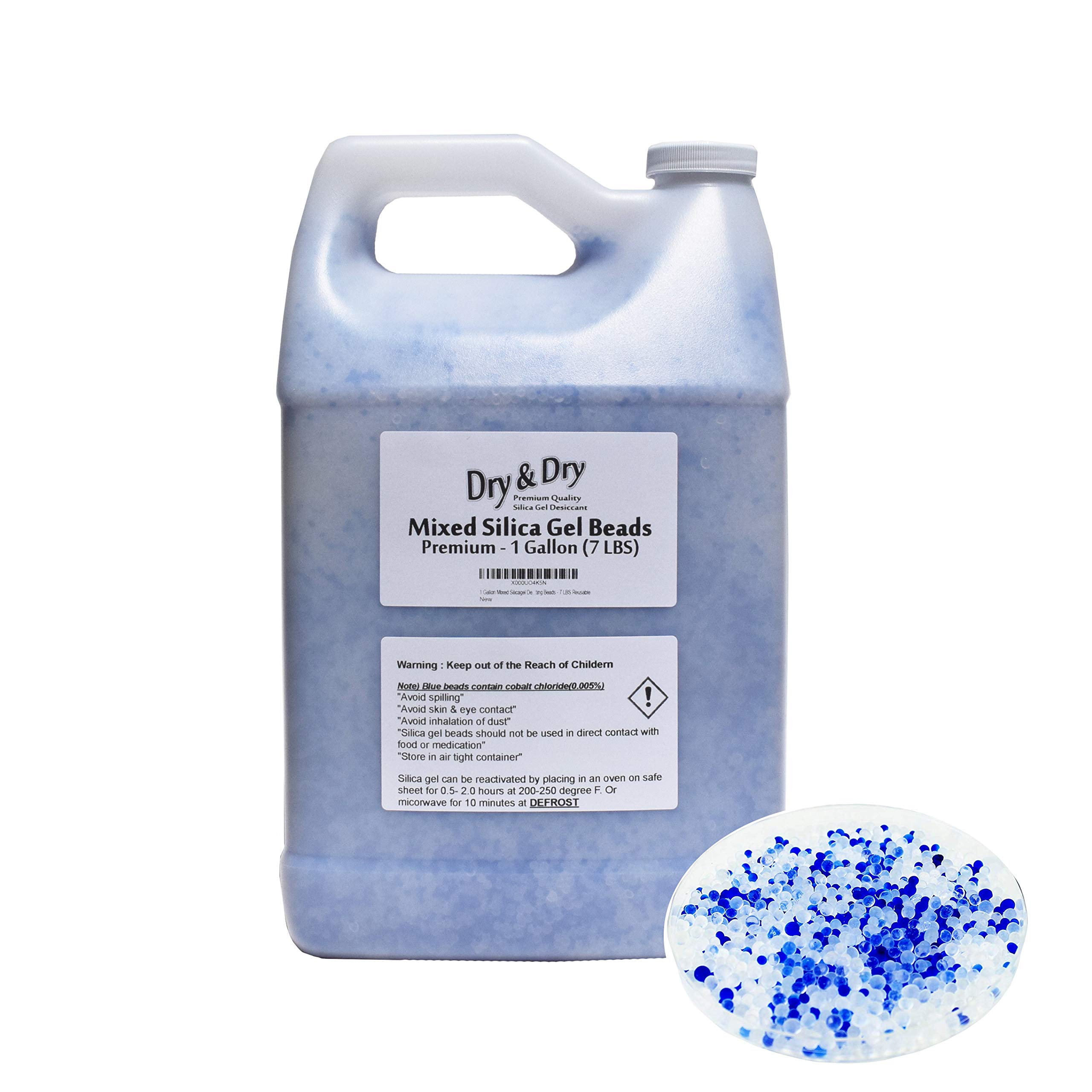 DRY&DRY 1 Gallon Premium Mixed Silicagel Beads with Blue Indicating Beads(Industry Standard 2-4mm) - 7 LBS Reusable