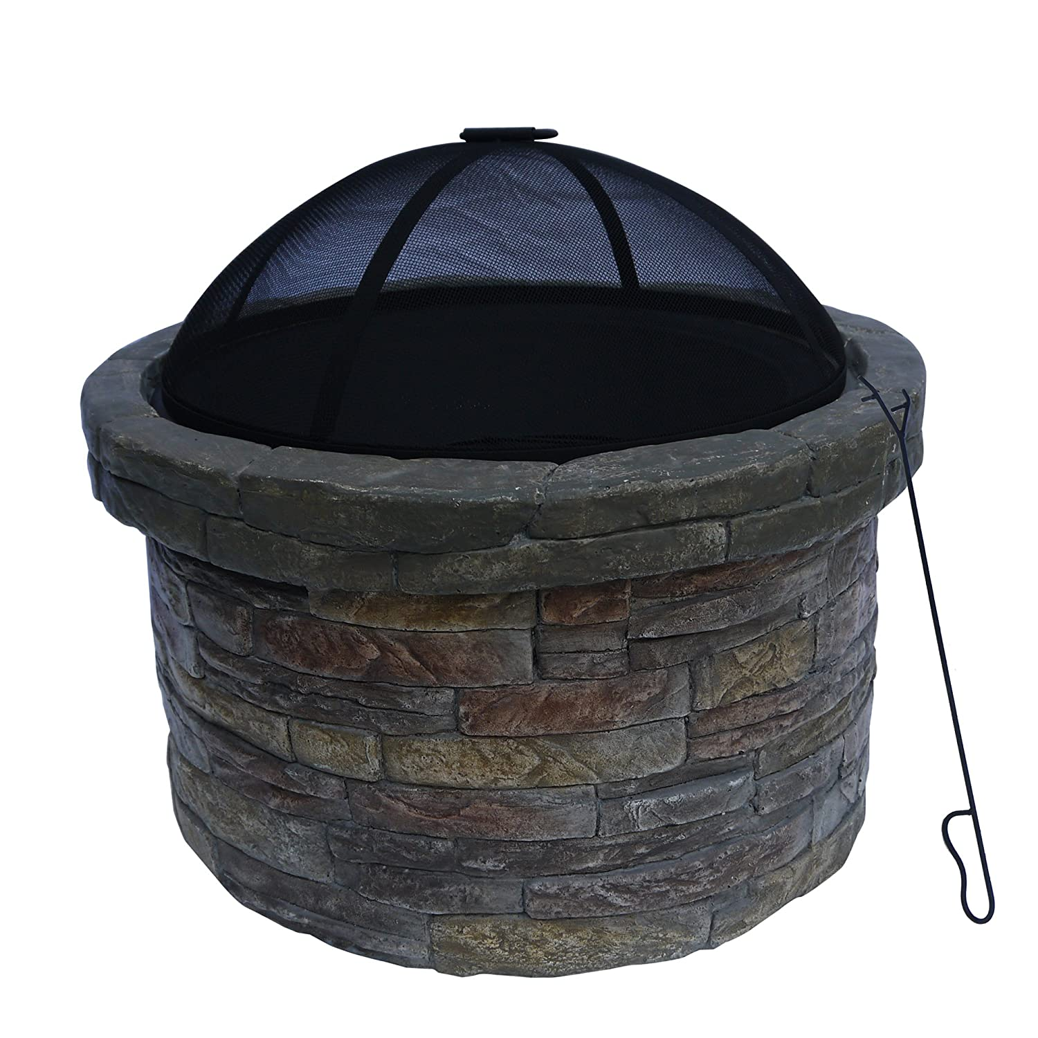 Peaktop HR22818AA Stone Wood Burning Fire Pit with Cover Outdoor Garden Round, 26 Inches, Dark Gray