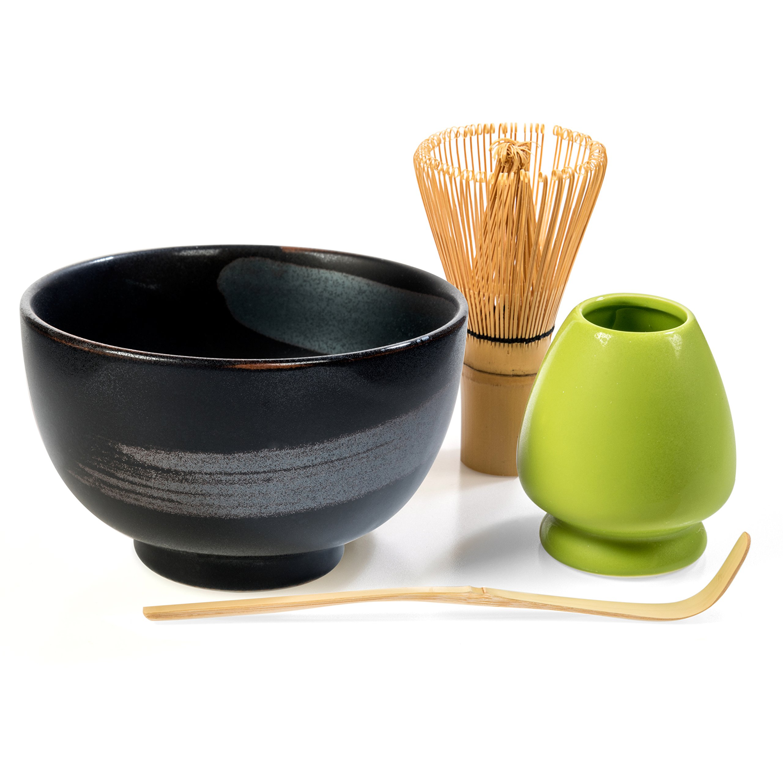 Tealyra - Matcha - Start Up Kit - 4 items - Matcha Green Tea Gift Set - Japanese Made Black Bowl - Bamboo Whisk and Scoop - Whisk Holder - Gift Box