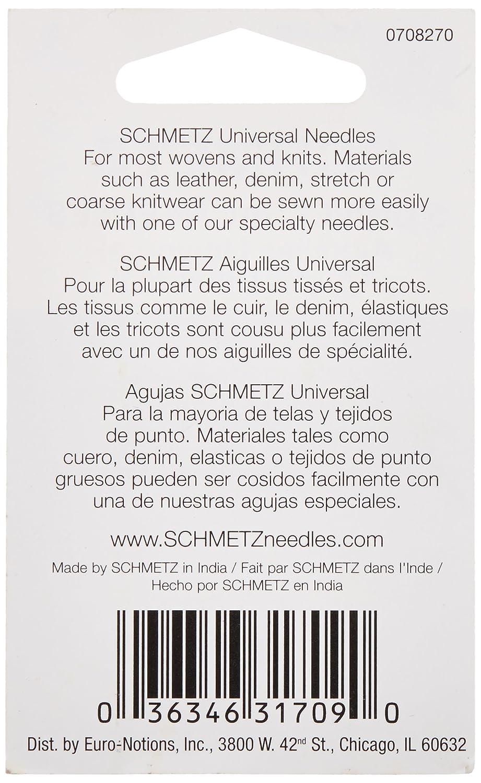 Size 12//80 5//Pkg Euro-Notions Schmetz Universal Machine Needles