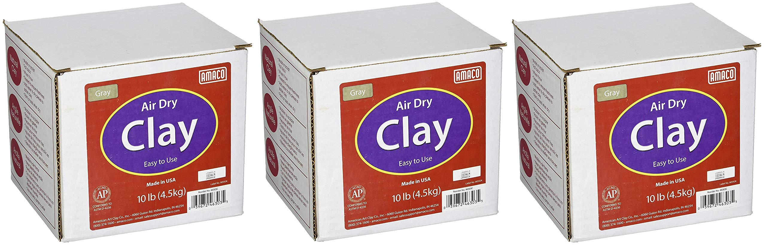 AMACO 4630-3C Air Dry Modeling Clay, 10-Pound, Gray (Pack of 3) by AMACO (Image #1)