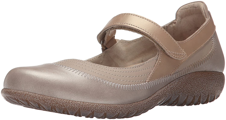 NAOT Footwear Women's Kirei Mary Jane Flat B014VF5M1Q 42 M EU / 11, 11.5 B(M) US|Linen, Stardust, Champagne Leather