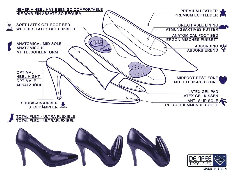 Desireé - Made In Spain - Echtleder Damen Damen Damen Pumps mit stabilen und bequemen 8 cm Blockabsatz, weiches Leder Futter Damenschuhe, 1148 Bordeaux dunkel-rot Desiree 6d6d2b