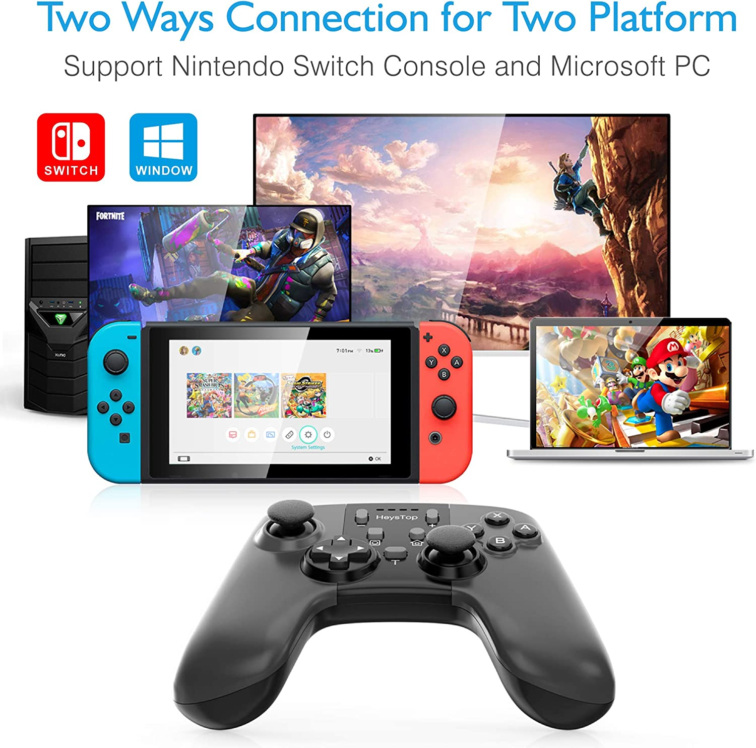 HEYSTOP Compatible Mando Nintendo Switch Inalámbrico Gamepad ...