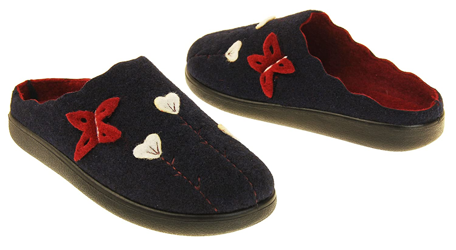 Coolers Womens Navy /& Burgundy Butterfly Felt Mules Slippers US 6