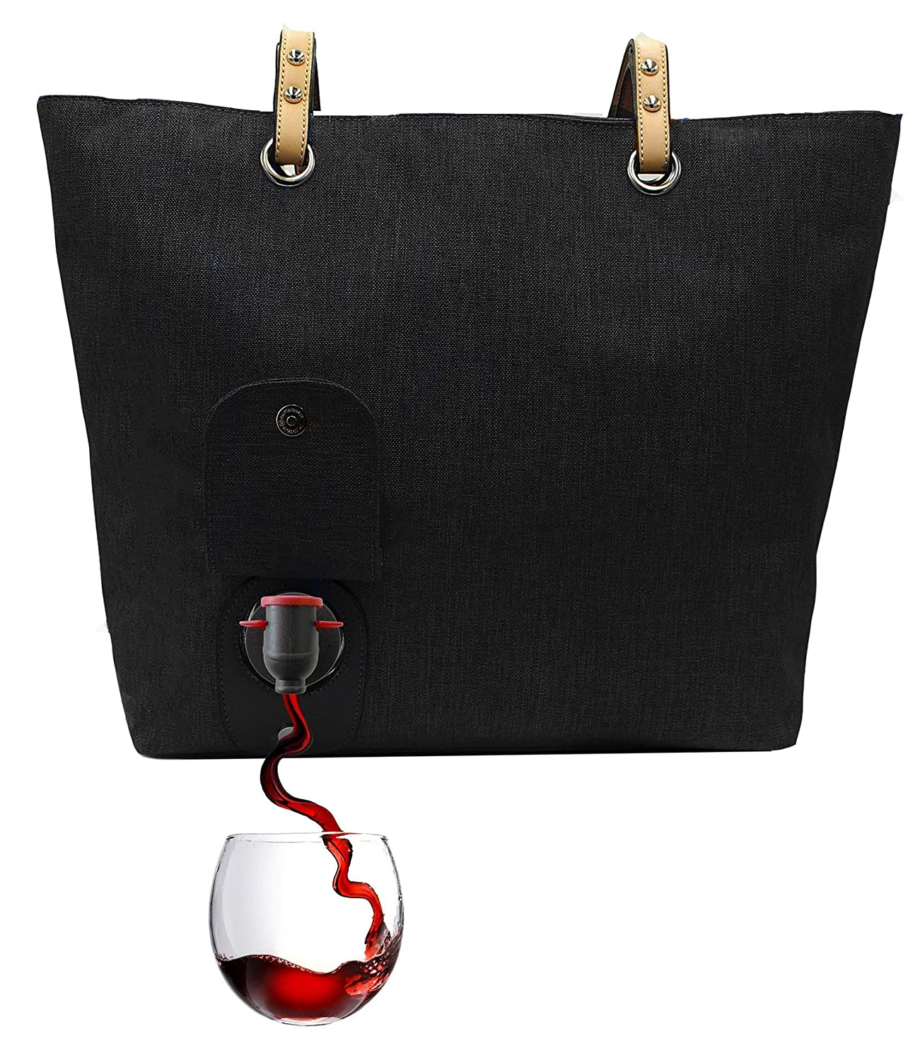 PortoVino City Tote Black - Fashionable Wine Purse with Hidden, Insulated Compartment, Holds 2 bottles of Wine!