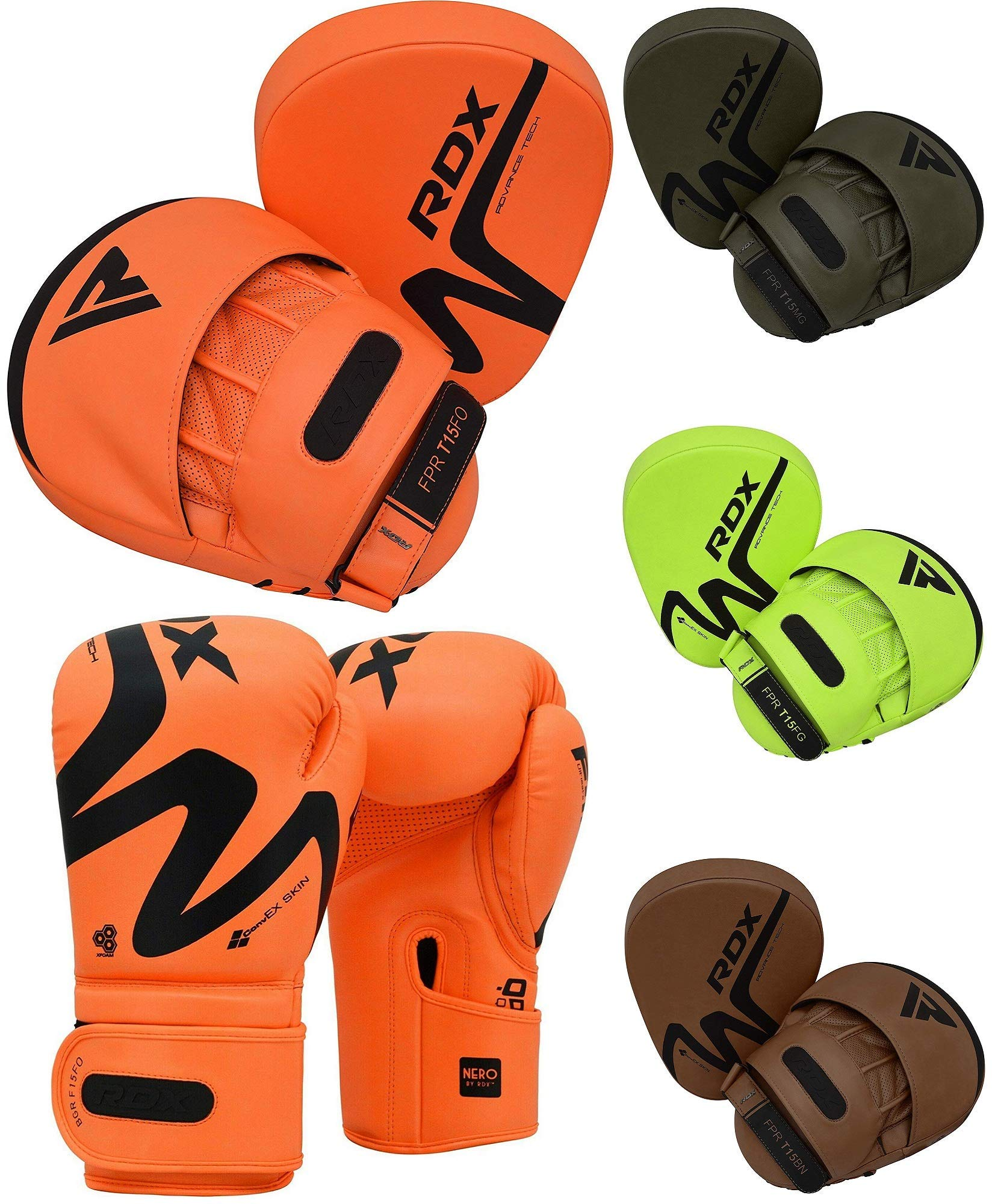 RDX MMA Gloves for Martial Arts Training & Grappling | Approved By SMMAF | Palm-O Maya Hide Leather Sparring Mitts | Good for Kickboxing, Muay Thai, Cage Fighting, Punching Bag & Combat Sports