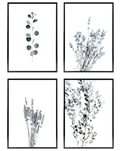Heimlich Premium Set of Posters | UNFRAMED | Stylish Photo and Quote Prints Fashion Wall Decor | Glam Wall Decor for Living Room and Bedroom | 4x [11x17] | NO FRAMES » Plant Eucalyptus Green «