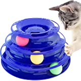 Purrfect Feline Titan's Tower - New Safer Bar Design, Interactive Cat Ball Toy, Exerciser Game, Teaser, Anti-Slip, Active Healthy Lifestyle, Suitable for Multiple Cats (Blue)