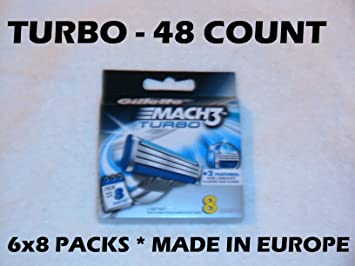Gillette Mach 3 Turbo Cartridges, 8 CT (Pack of 6)