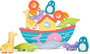 Le Toy Van - Educational Adorable Wooden Balancing Ark Stacking Toy | Premium Wooden Toys | Baby Sensory Montessori Toddler Learning Toy - Suitable for 12+ Months, Noah's Balancing Ark Set (TV214)
