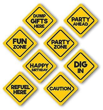 amazon com construction birthday party signs glossy 8 pack medium