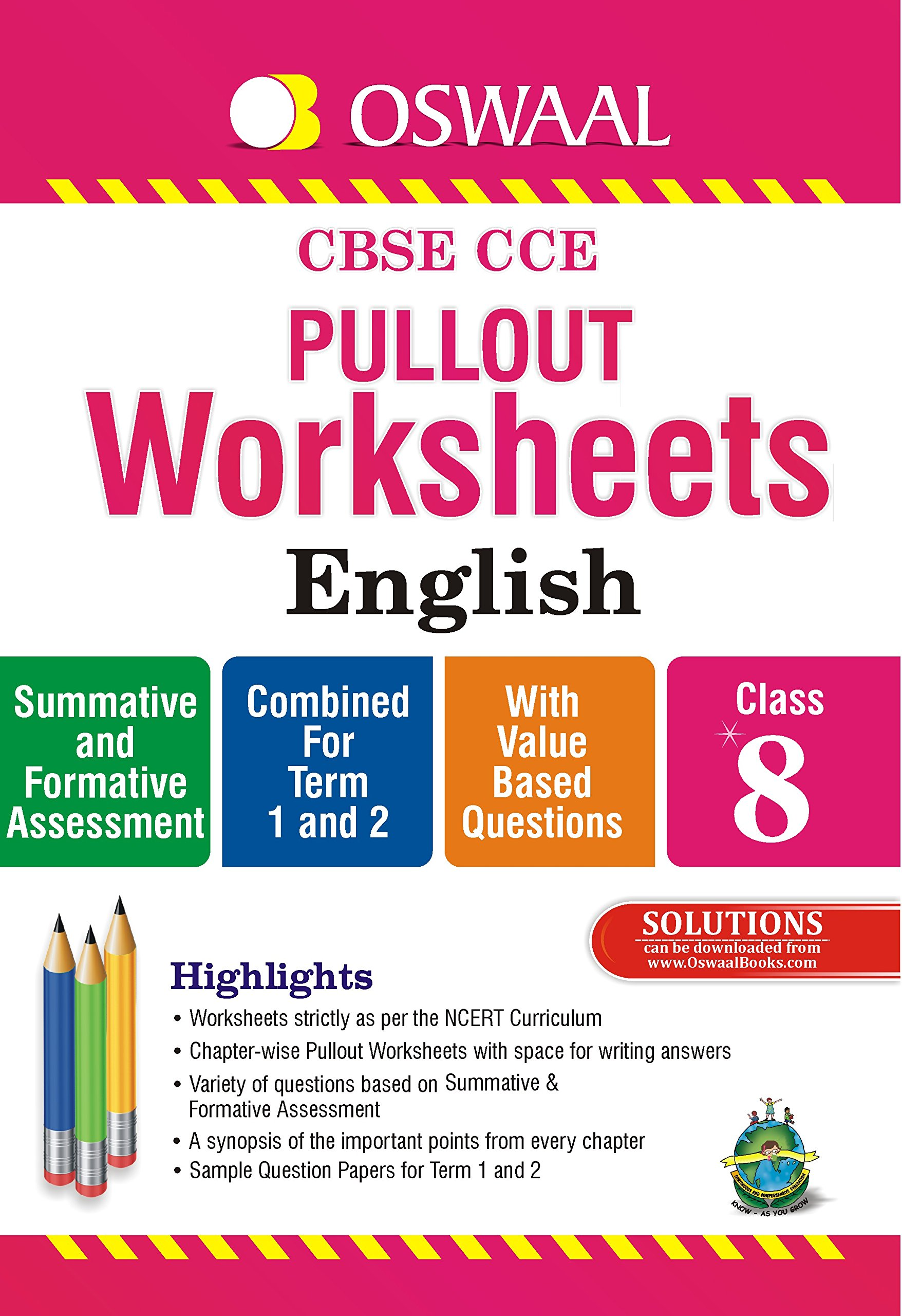 Oswaal Cbse Cce Pullout Worksheets English For Class 8 Old Edition