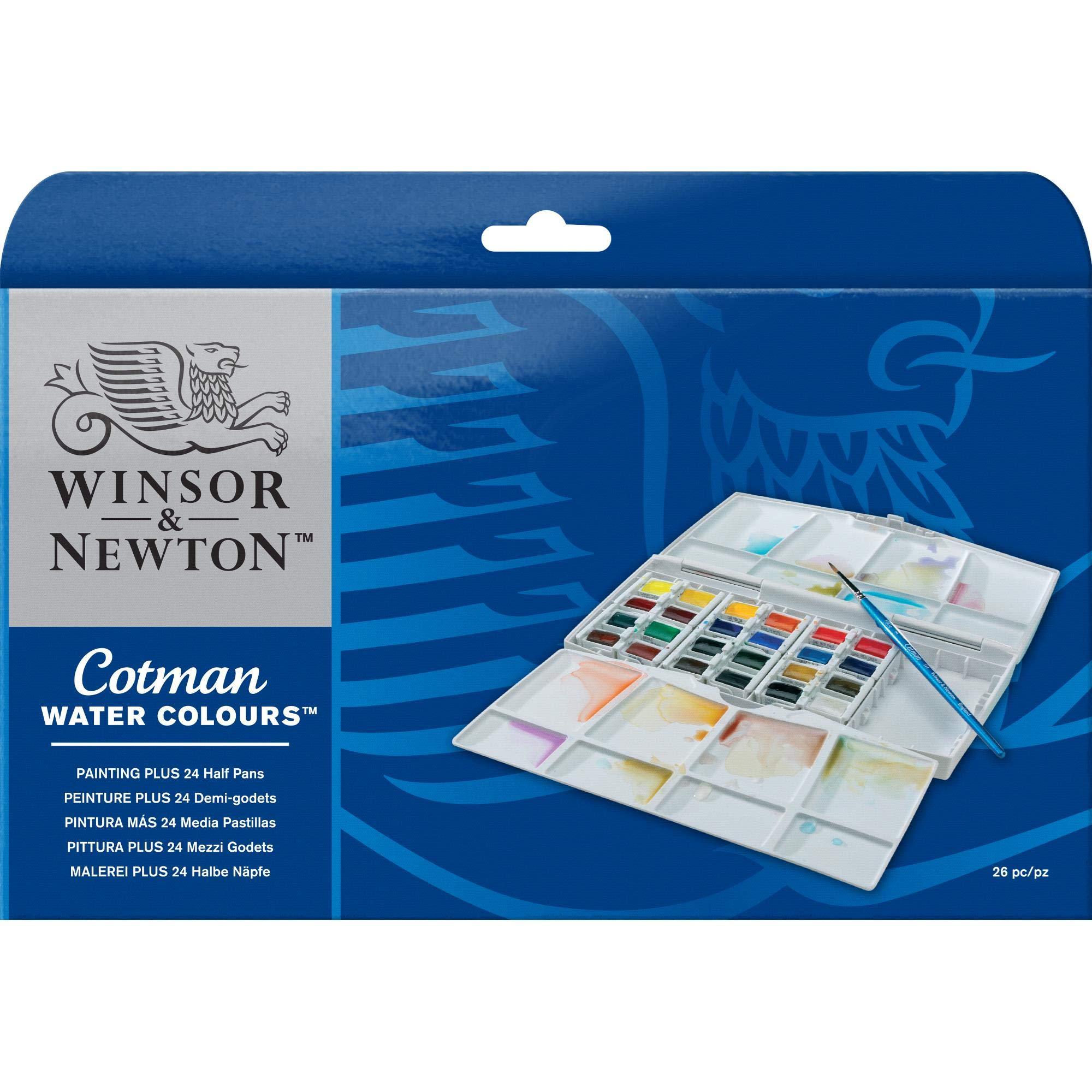 Winsor & Newton Cotman Water Colour Painting Plus Set, Set of 24, Half Pans