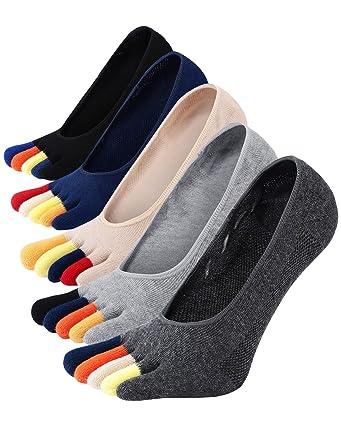PUTUO Calcetines Cinco Dedos Hombre Calcetines Invisibles de Algodón, Calcetines Cortos Hombre Calcetines con Dedos, Antideslizantes, 5 pares: Amazon.es: ...