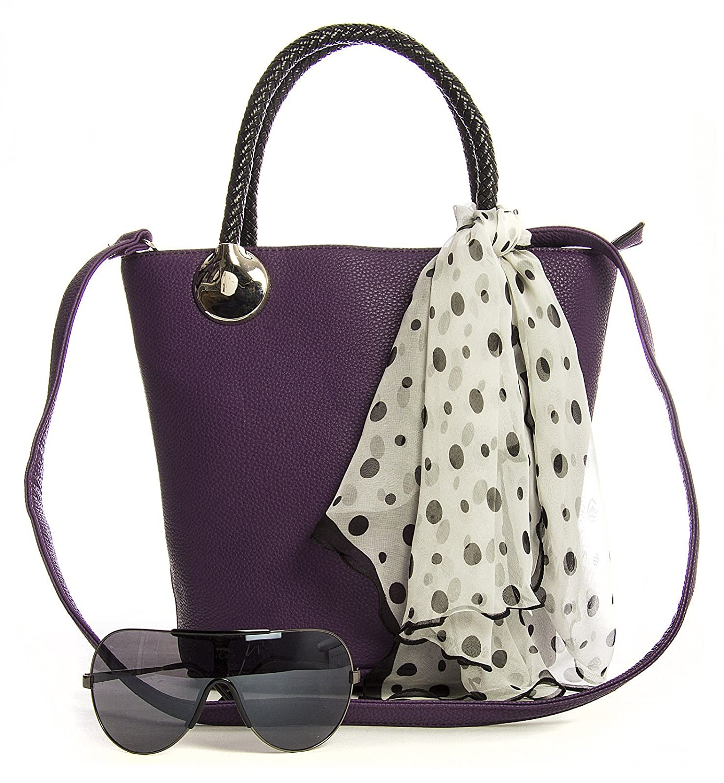 2b90f2938bca Big Handbag Shop Womens Designer Top Handle Bucket Shape Scarf Satchel Bag  (LS_H-0015 Navy)