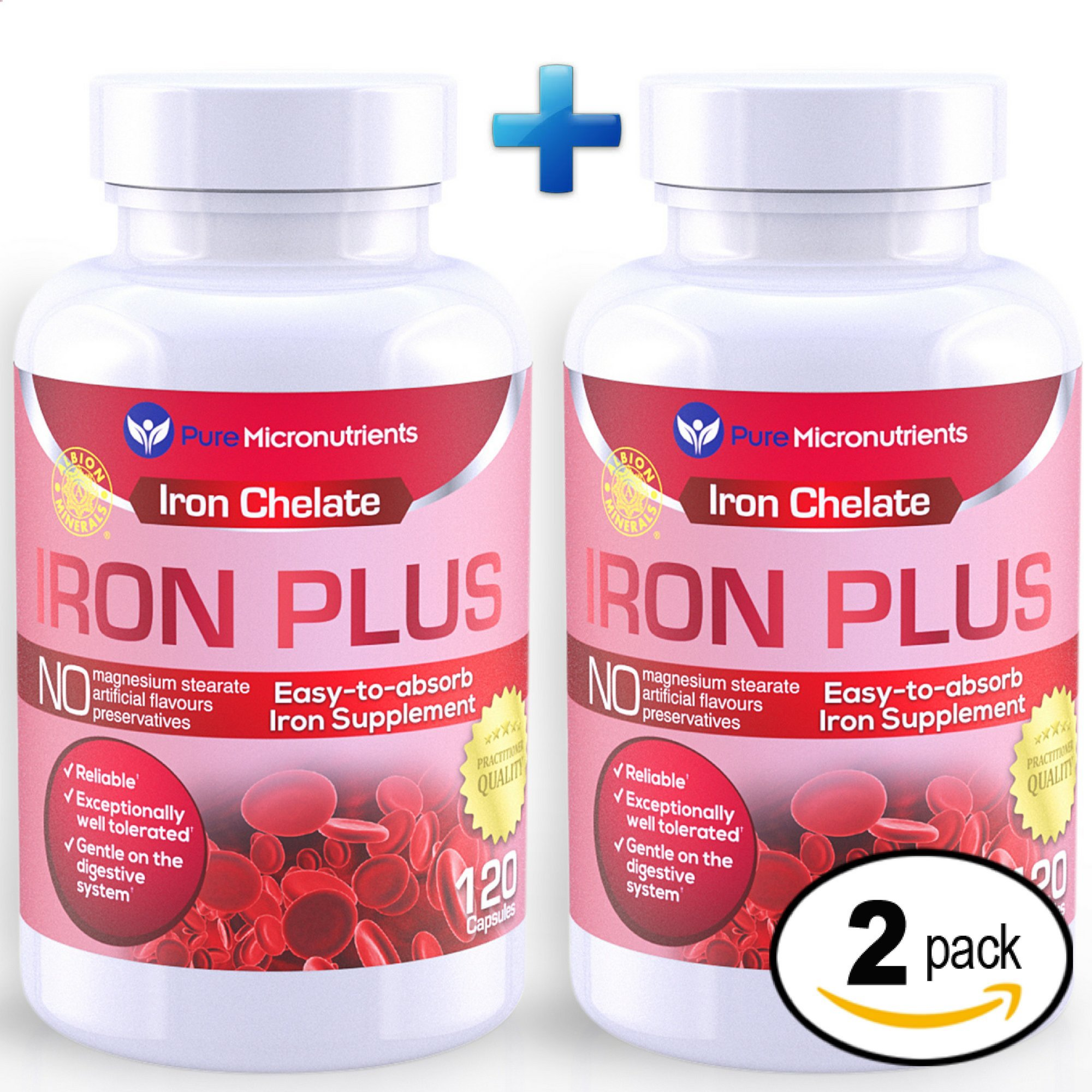 Pure Micronutrients Iron Plus Supplement, Natural Ferrous Chelate, Bisglycinate 25mg + Vitamin C, B6, B12, Folic Acid, 120 Count (2-Pack)