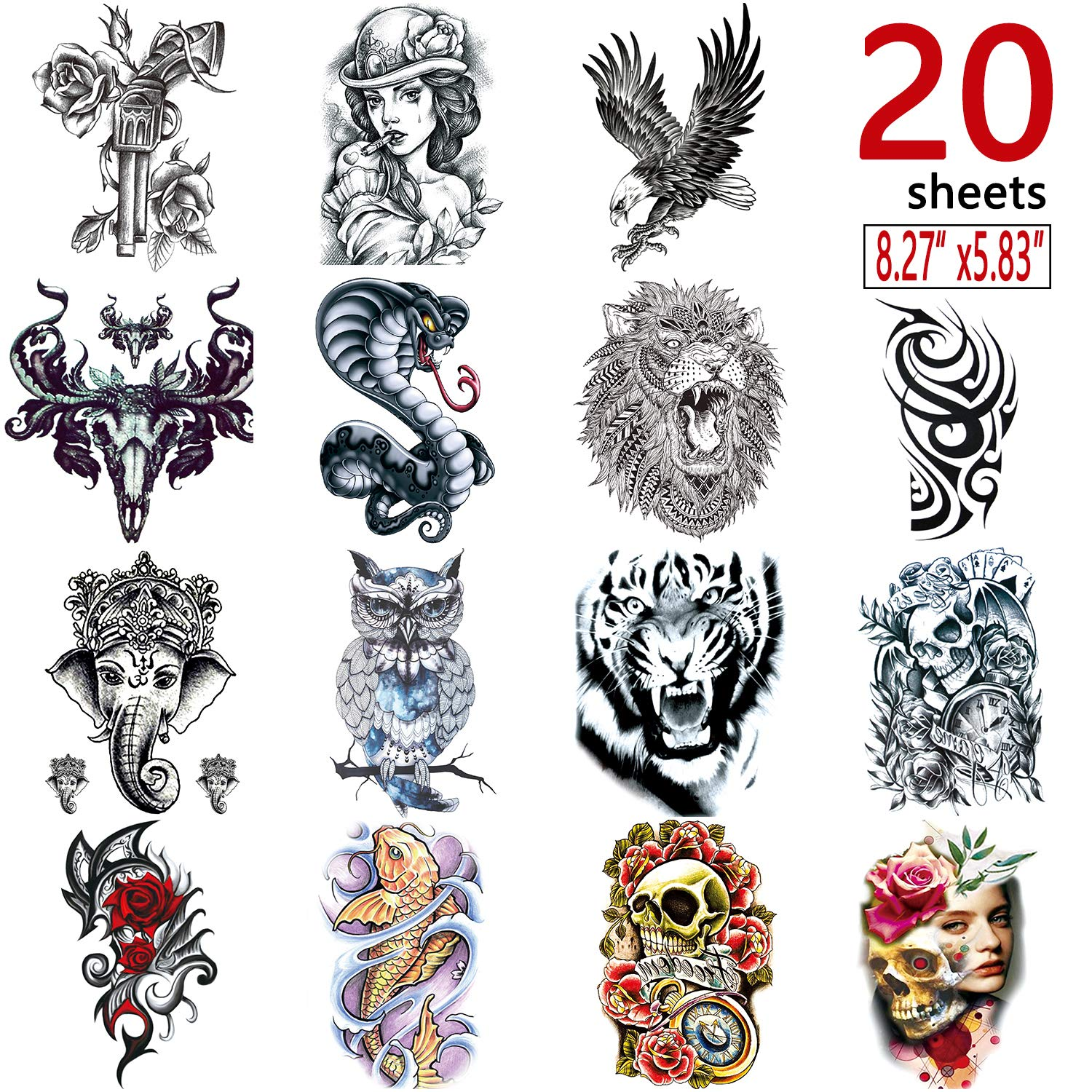 Amazon com 20 sheets large temporary tattoos stickers fake body arm chest shoulder tattoos for men and women(21cm x 14 8cm beauty