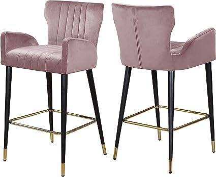 Incredible Amazon Com Meridian Furniture Luxe Pink Velvet Stool Set Cjindustries Chair Design For Home Cjindustriesco