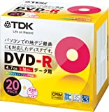 TDK データ用DVD-R CPRM対応 4.7GB 1-16倍速対応 ホワイトワイドプリンタブル 20枚パック 5mmスリムケース DR47DPWC20T