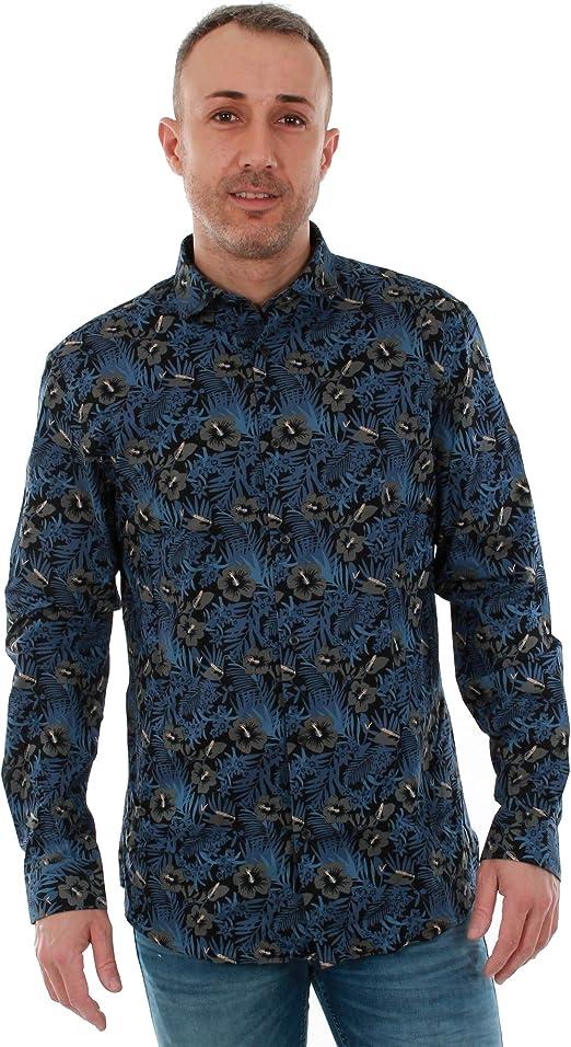 Camisa Jack&Jones Hombre S Azul Marino 12151294 JPRNOHR AOP Shirt LS EXP Navy Blazer Slim FIT: Amazon.es: Ropa y accesorios