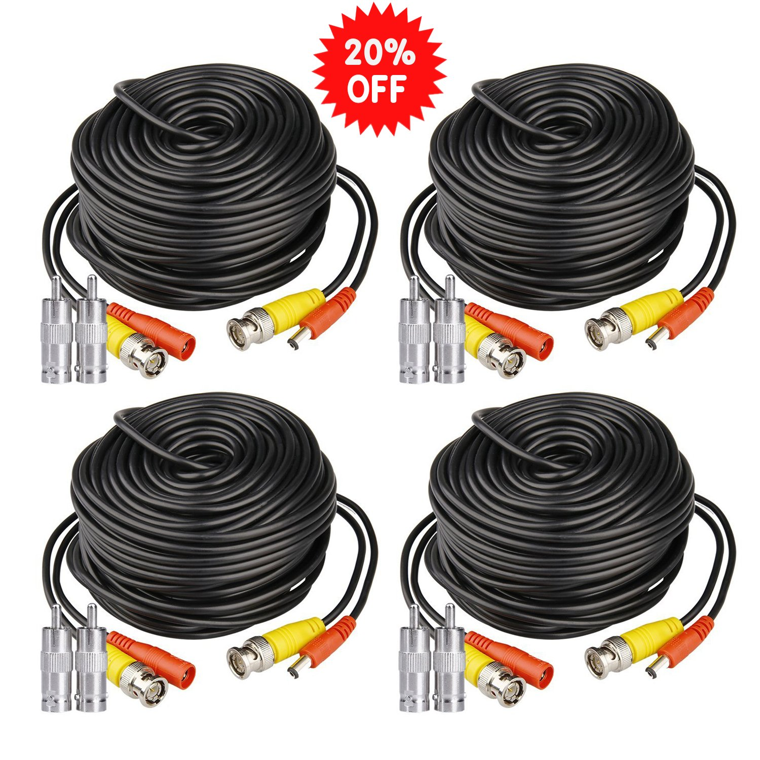 HISVISION 4 Pack 100ft BNC Video Power Cable Security Camera Wire Cord Extension Cable with 8pcs BNC to RCA Connectors for CCTV DVR Surveillance System