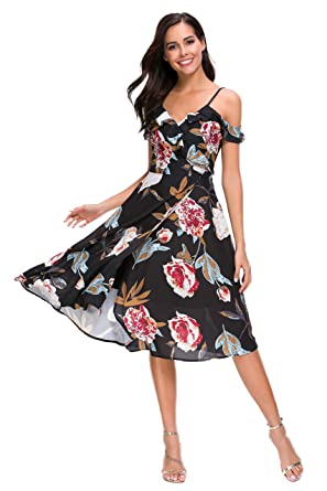 46a0ad0a70e TOP-MAX Women s Dresses -Summer Boho Split Floral Print Prom Club Party  Cocktail Casual