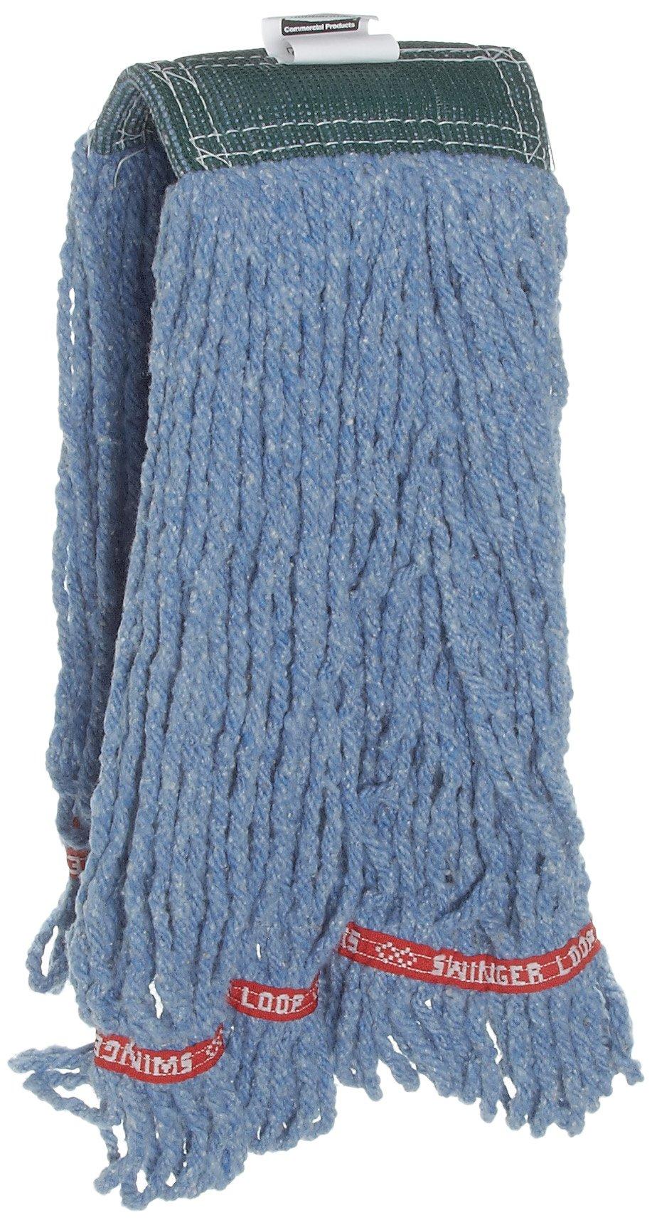 Rubbermaid Commercial Swinger Loop Shrinkless Wet Mop, Medium, Blue, FGC25206BL00