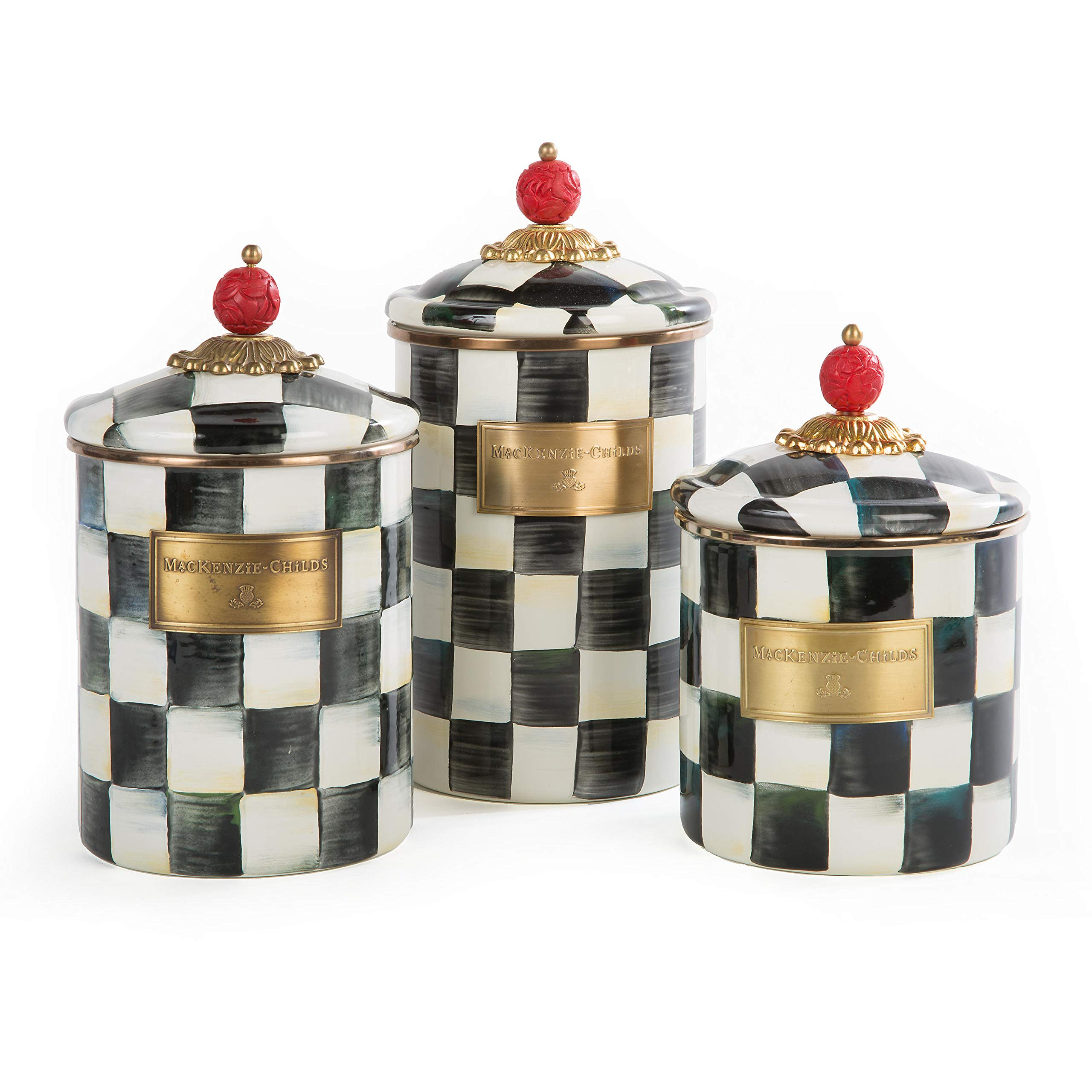MacKenzie-Childs Courtly Check Enamel Canister - Large 5'' dia., 7'' tall