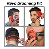 Revo Haircut Kit - Beard, Hair, Goatee, and Neckline Shaving Template Guide - Perfect Hairline Lineup and Beard Shaping Tool - Hair Cutting and Grooming Kit - One Size Fits All - Barber Supplies (Color: Red)