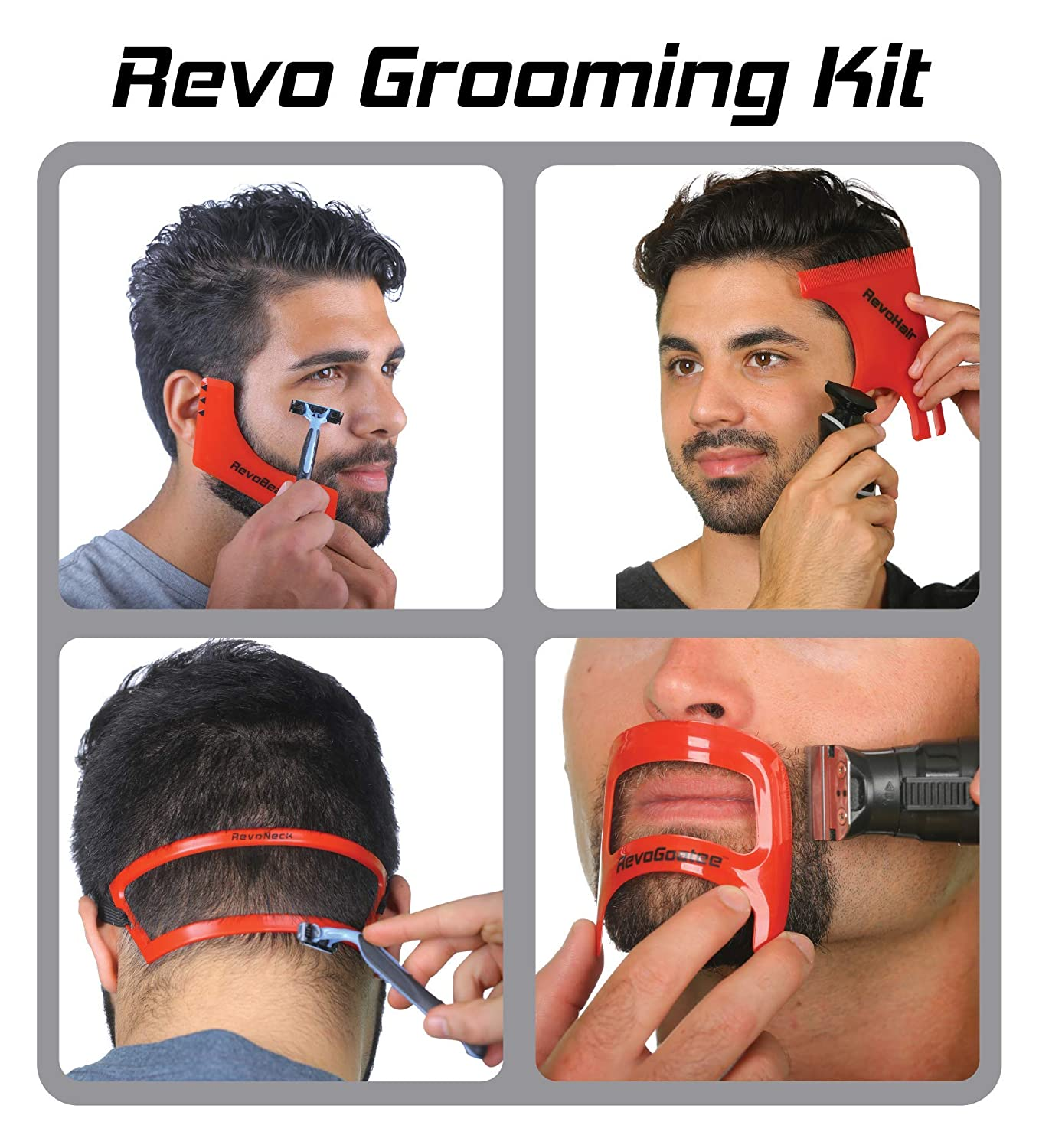 Revo Haircut Kit - Beard, Hair, Goatee, and Neckline Shaving Template Guide - Perfect Hairline Lineup and Beard Shaping Tool - Hair Cutting and Grooming Kit - One Size Fits All - Barber Supplies
