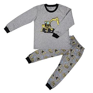 795a1c63dbca Little Hand Kids Boys Girls Pyjamas Digger PJ s Sets Soft Long ...
